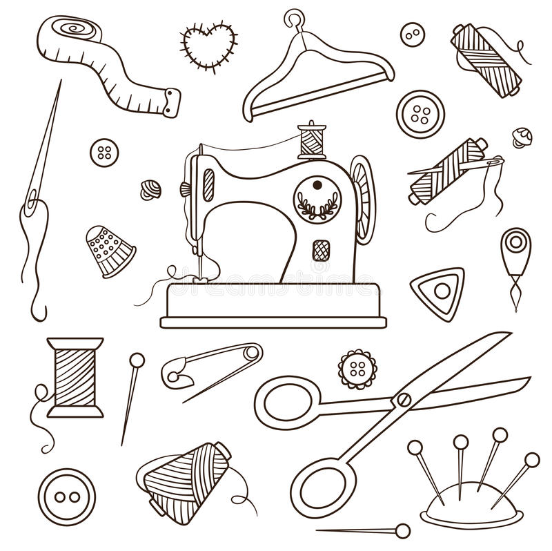 Conjunto de costura ilustración del vector