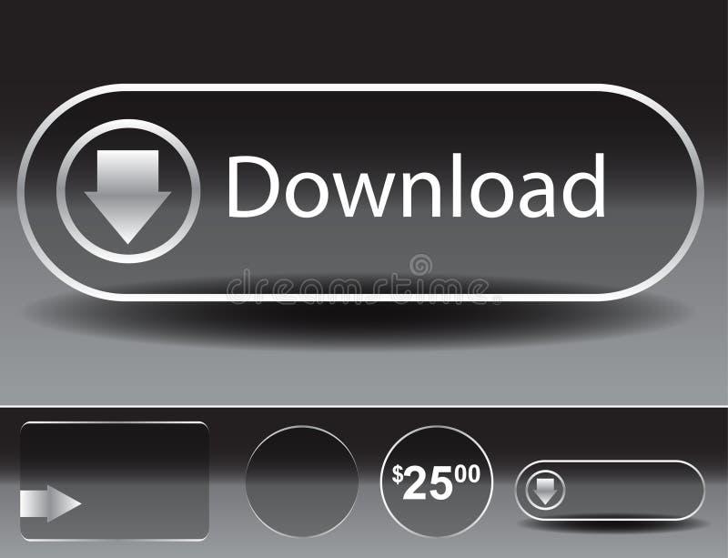 Conjunto de cristal transparente del botón stock de ilustración