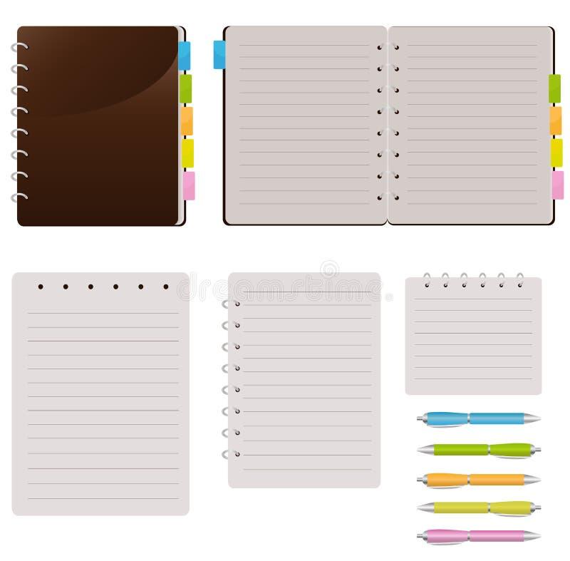 Conjunto de cuadernos espirales ilustración del vector