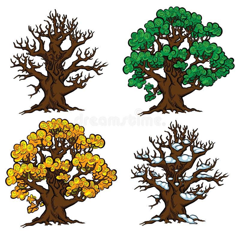 Conjunto de cuatro árboles en varias etapas del crecimiento stock de ilustración