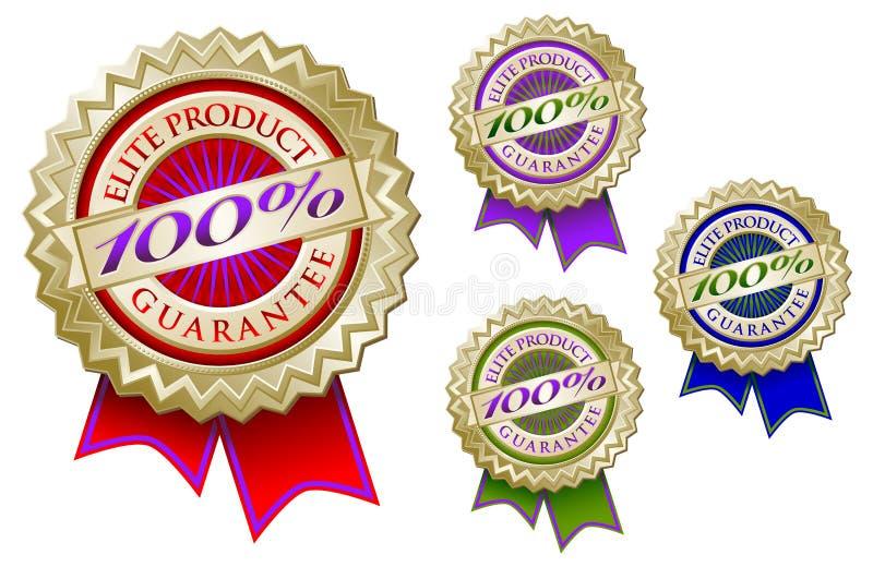Conjunto de cuatro 100% SE del emblema de la garantía del producto de la élite ilustración del vector