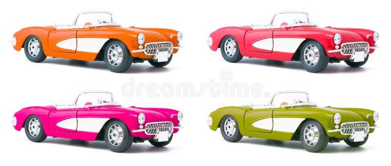 Conjunto de cuatro coches modelo del juguete foto de archivo libre de regalías