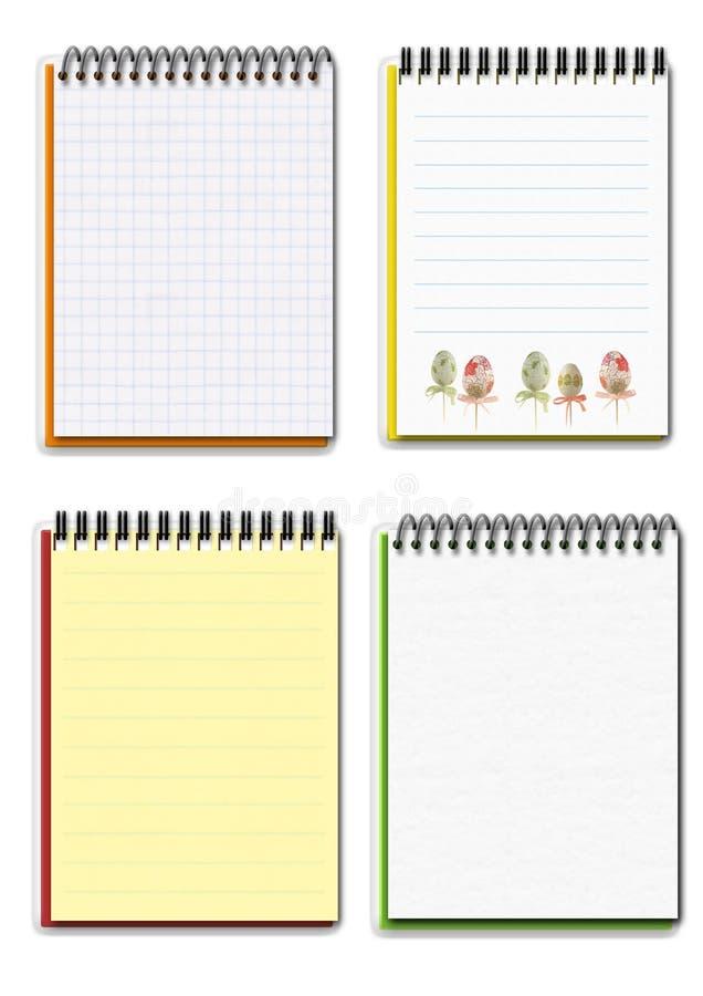 Conjunto de cuatro diversos cuadernos vacíos stock de ilustración