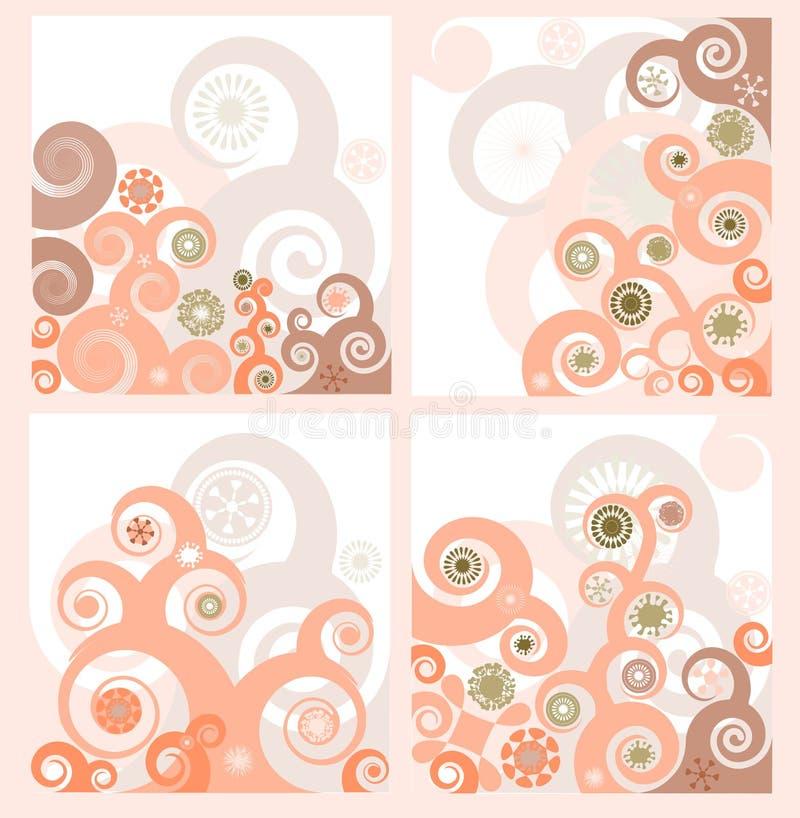 Conjunto de cuatro fondos florales retros stock de ilustración