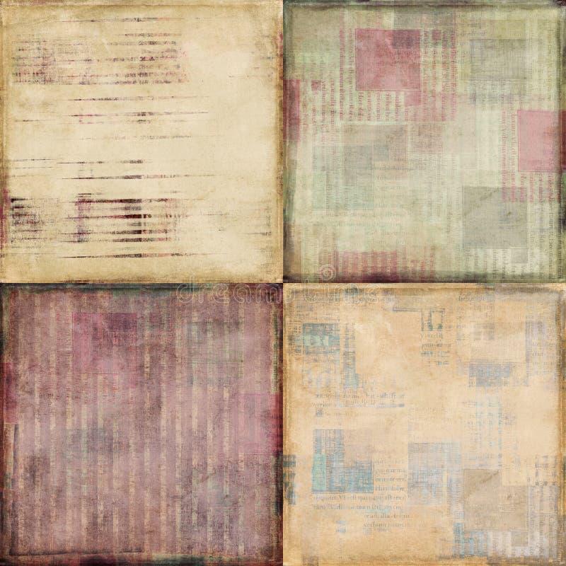 Conjunto de cuatro fondos textured lamentables de la vendimia stock de ilustración