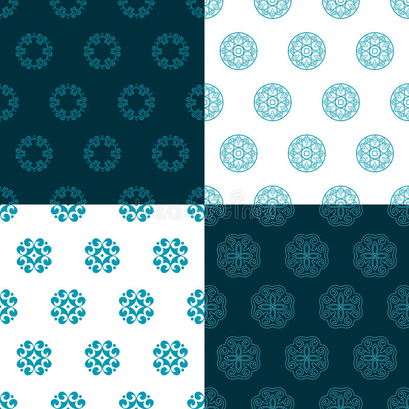 Conjunto de cuatro modelos inconsútiles Kazakh, asiático, floral libre illustration