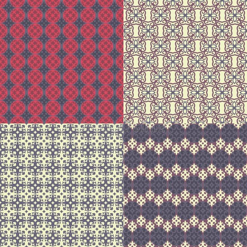Conjunto de cuatro modelos inconsútiles Kazakh, asiático, palmadita floral, floral stock de ilustración