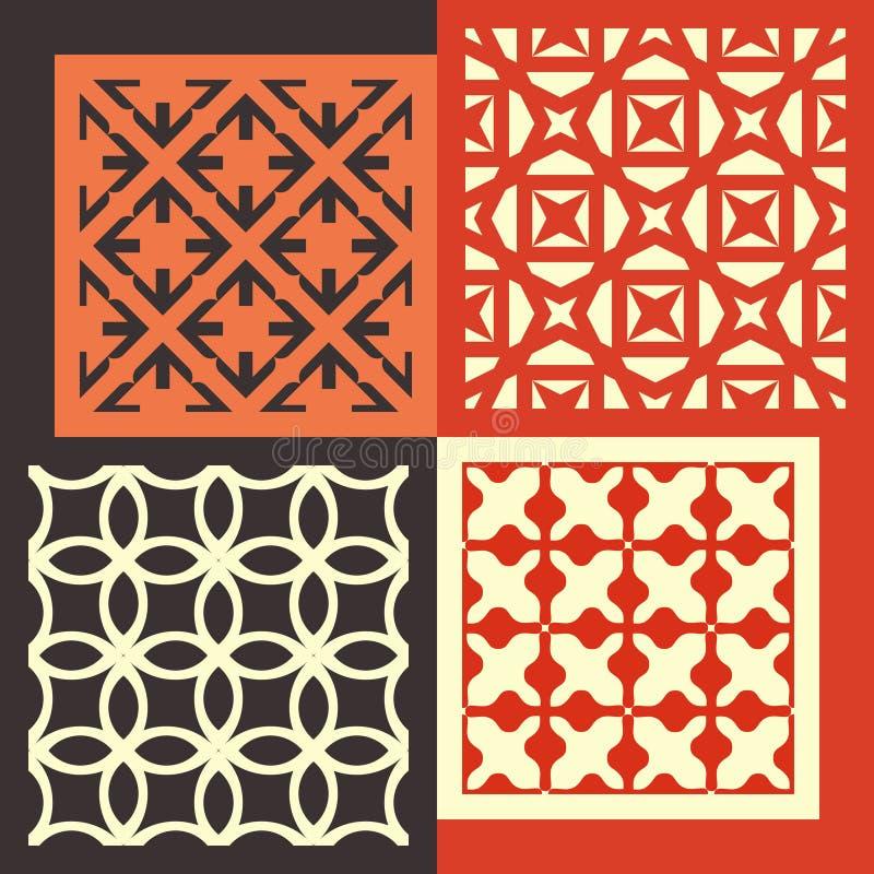 Conjunto de cuatro modelos inconsútiles Vintage geométrico ilustración del vector