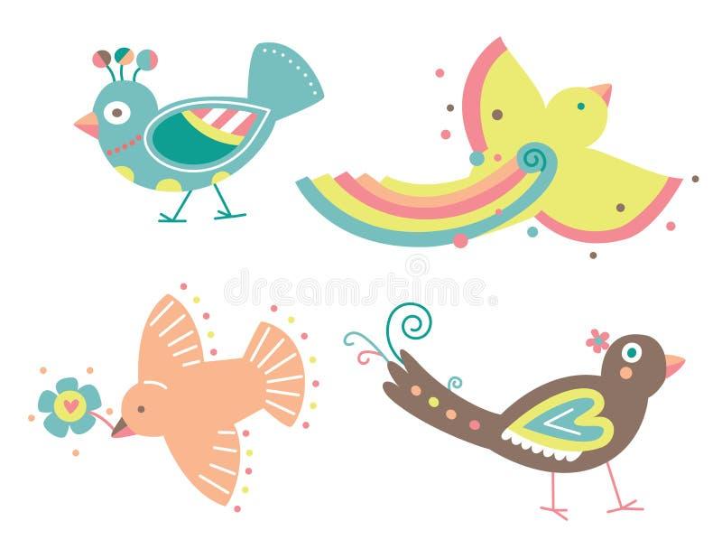 Conjunto de cuatro pájaros decorativos stock de ilustración