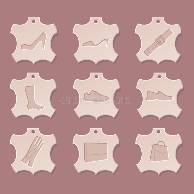 Conjunto de cuero del icono libre illustration