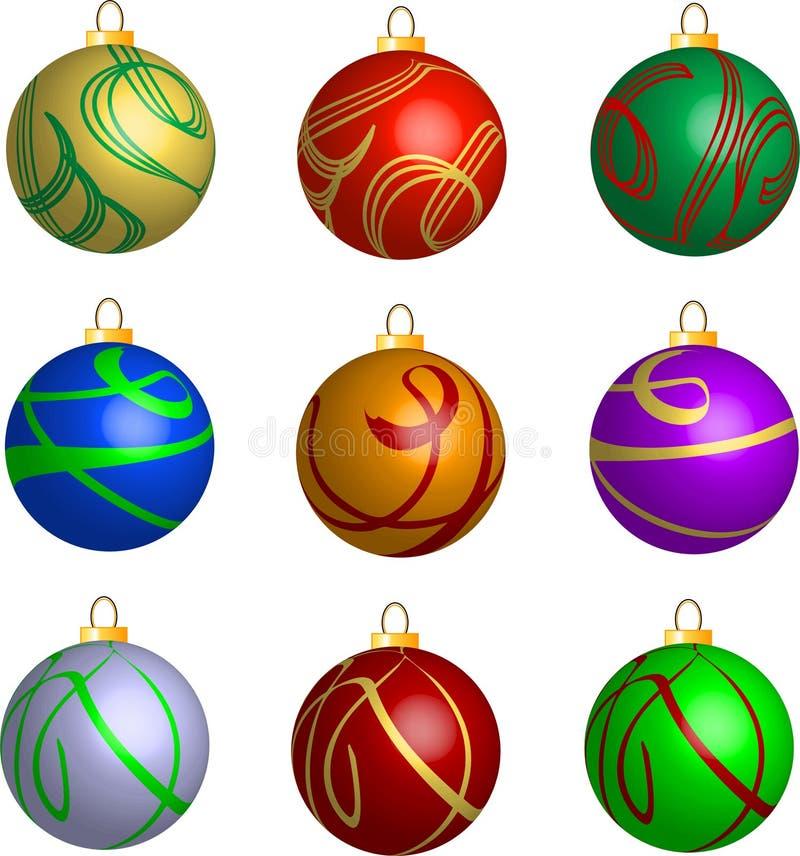 Conjunto de decoraciones de las bolas de la Navidad del remolino 3D libre illustration