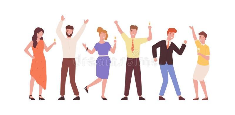 Conjunto de desenhos animados jovens estilosos a divertir-se numa ilustração plana vetorial Coleção de colegas coloridos dançando ilustração royalty free