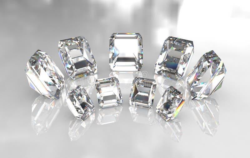 Conjunto de diamantes blancos cortados esmeralda ilustración del vector