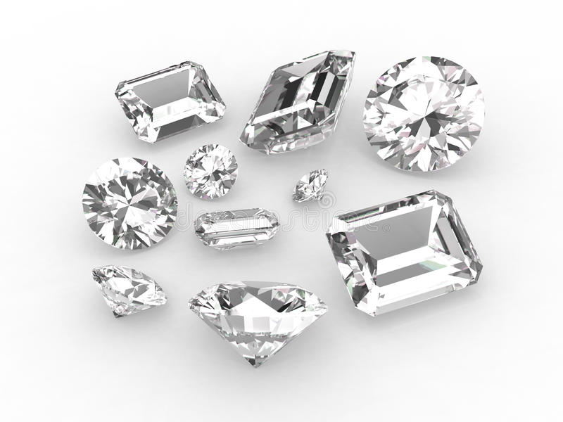 Conjunto de diez diamantes blancos ilustración del vector