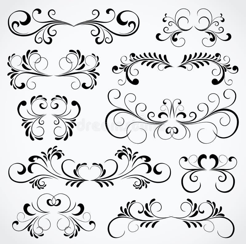 Conjunto de diez elementos adornados para el diseño libre illustration