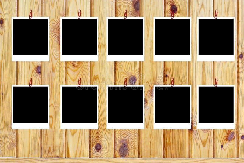 Conjunto de diez polaroides en blanco viejas fotos de archivo