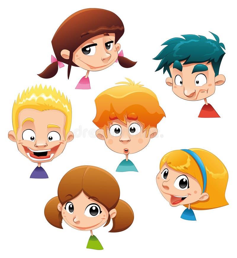 Conjunto de diversas expresiones de carácter. ilustración del vector