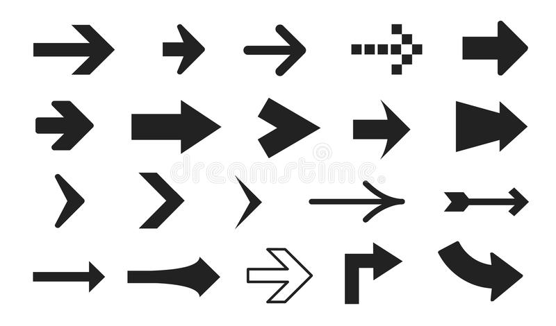 Conjunto de diversas flechas ilustración del vector