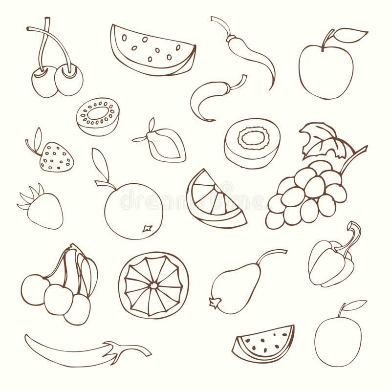 Conjunto de diversas frutas libre illustration