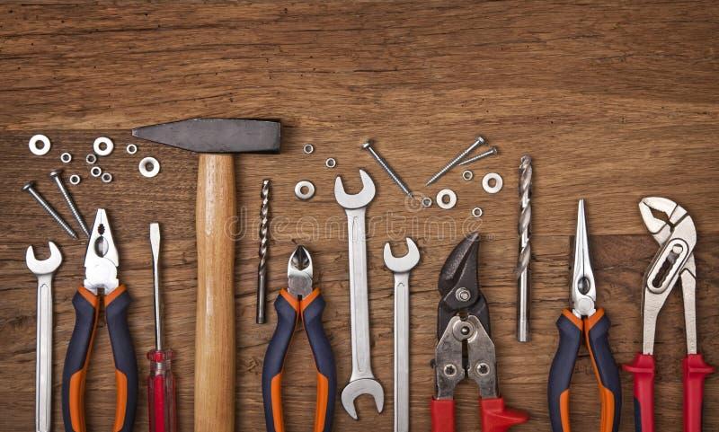 Conjunto de diversas herramientas foto de archivo libre de regalías