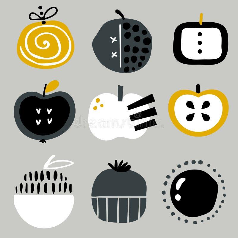 Conjunto de diversas manzanas libre illustration