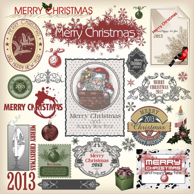 Conjunto de diversos diseños de la Navidad libre illustration