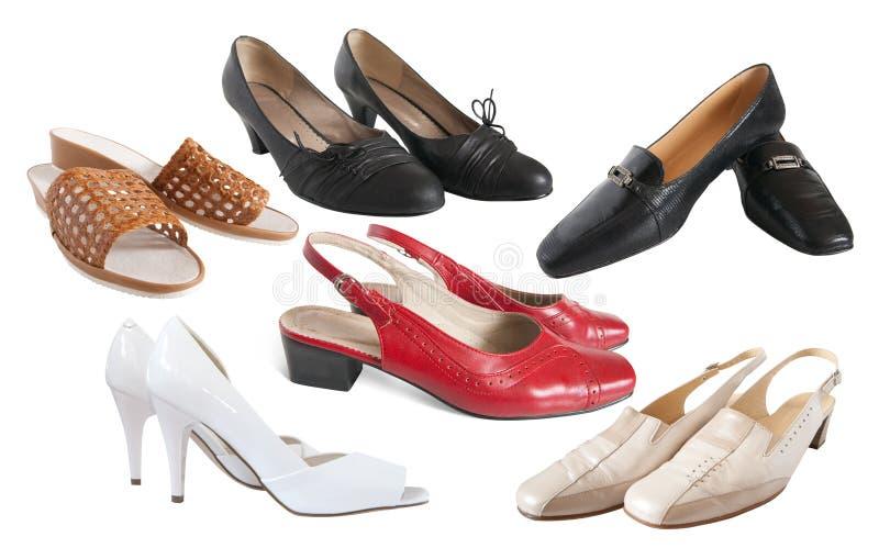 Conjunto de diversos zapatos mujeriles foto de archivo libre de regalías