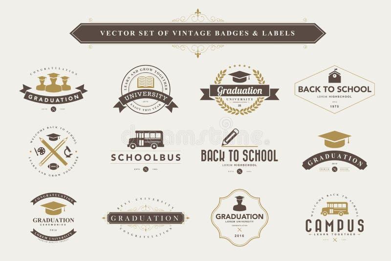 Conjunto de divisas y de escrituras de la etiqueta de la vendimia stock de ilustración
