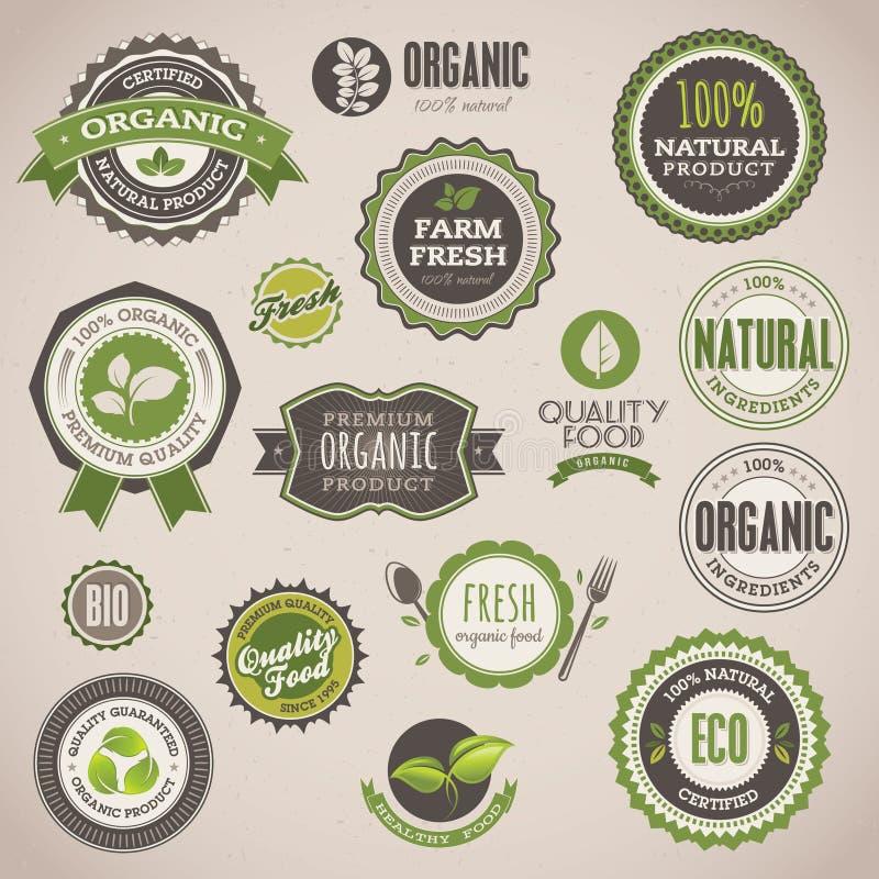 Conjunto de divisas y de escrituras de la etiqueta orgánicas stock de ilustración