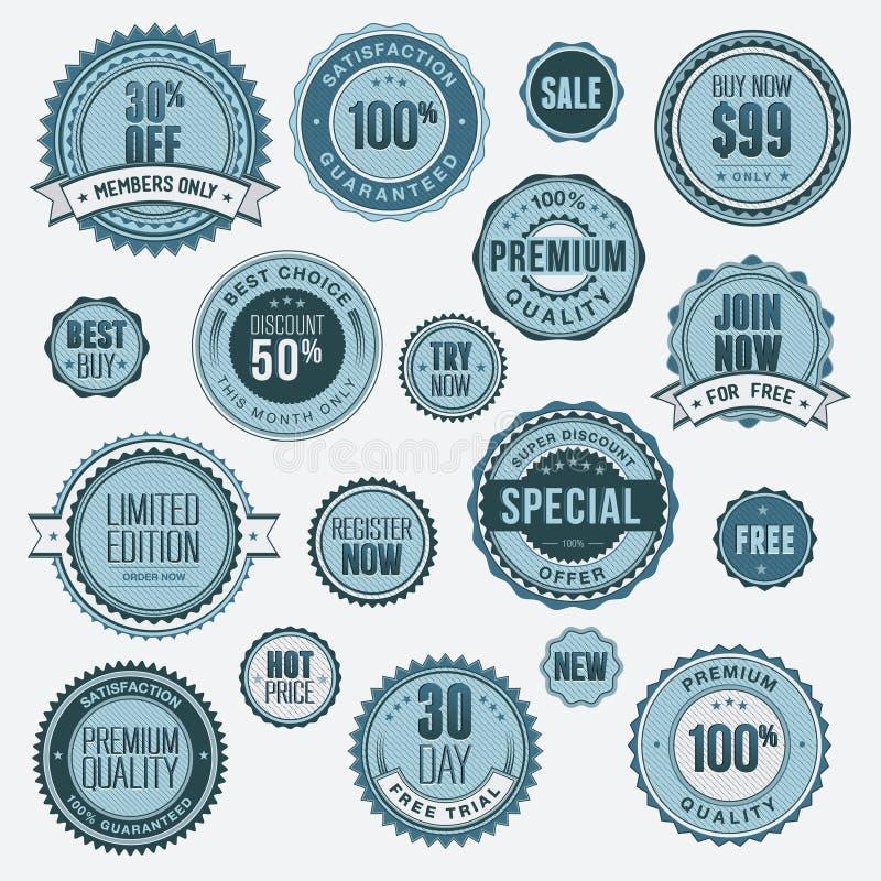 Conjunto de divisas y de etiquetas engomadas del asunto ilustración del vector