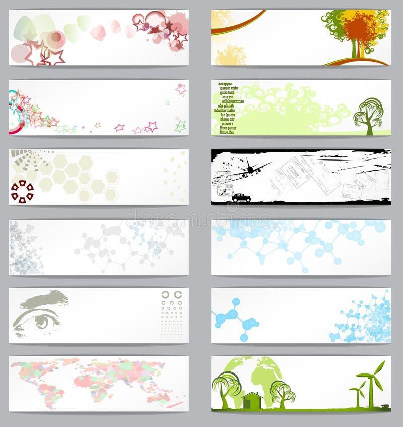 Conjunto de doce diversas tarjetas de visita ilustración del vector