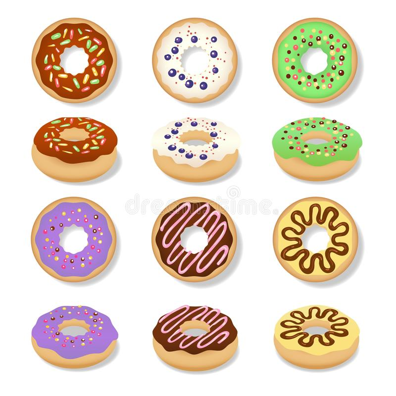 Conjunto de donuts de película ilustração do vetor