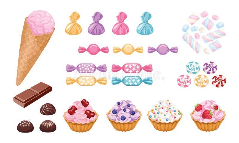 Conjunto de dulces Helado, magdalenas con las bayas, ?andies en envolturas del color, melcochas y chocolate ilustración del vector