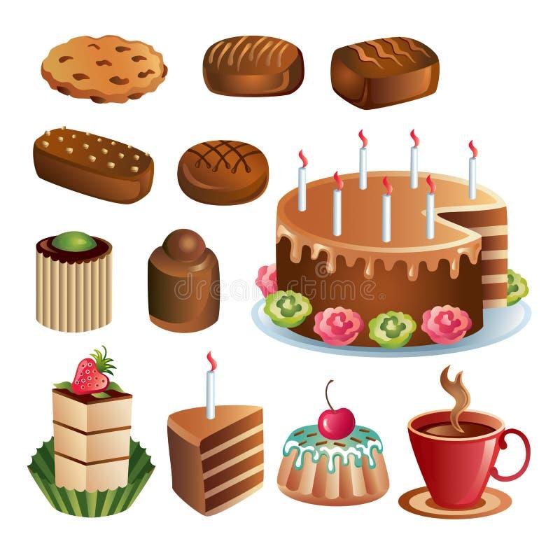 Conjunto de dulces y de tortas del chocolate libre illustration