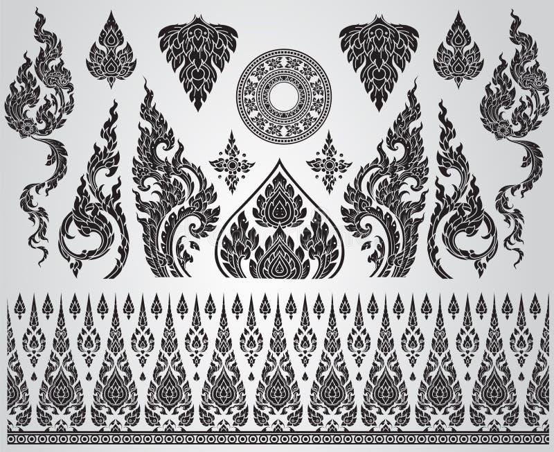 Conjunto de elementos de arte tailandeses, motivos decorativos Arte Étnica ilustração do vetor