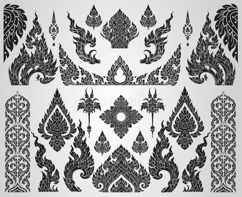 Conjunto de elementos de arte tailandeses, motivos decorativos Arte Étnica, ilustração do vetor
