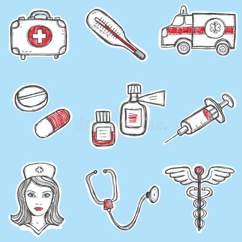 Conjunto de elementos de la medicina libre illustration