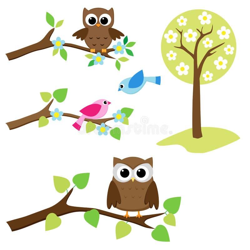 Conjunto de elementos de la naturaleza stock de ilustración