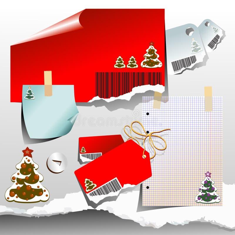 Conjunto de elementos de la Navidad stock de ilustración
