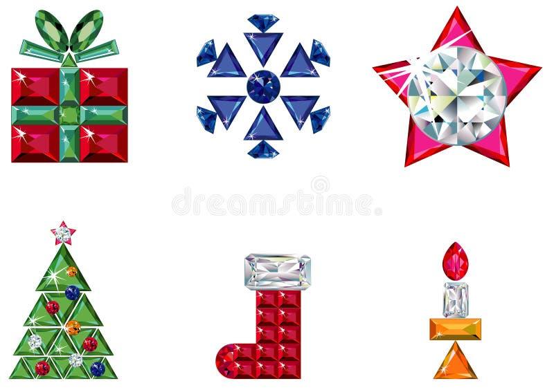 Conjunto de elementos de la Navidad o del día de fiesta hechos de pre libre illustration