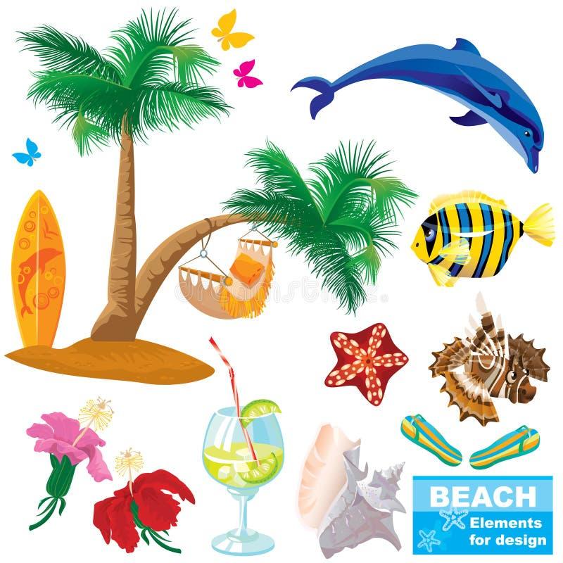 Conjunto de elementos de la playa del verano
