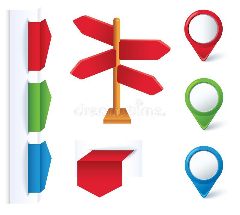 Conjunto de elementos de las flechas y del diseño del color. stock de ilustración