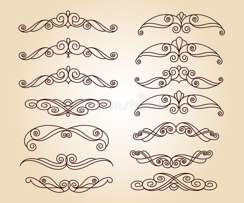 Conjunto de elementos decorativos divisores Ilustración del vector libre illustration