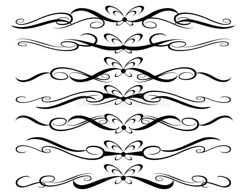 Conjunto de elementos decorativos divisores Ilustración del vector foto de archivo