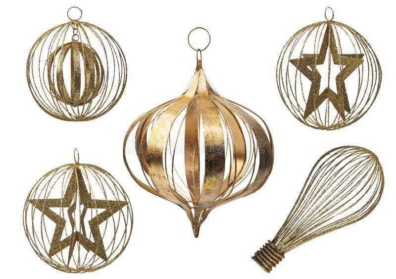 Conjunto de elementos decorativos de metal de Natal isolados sobre fundo branco,Caminho de recorte incluído fotografia de stock