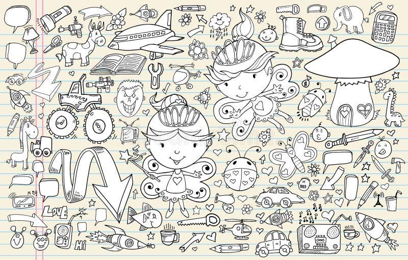 Conjunto de elementos del cuaderno del bosquejo del Doodle ilustración del vector