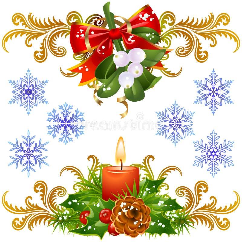 Conjunto de elementos del diseño de la Navidad 3 stock de ilustración