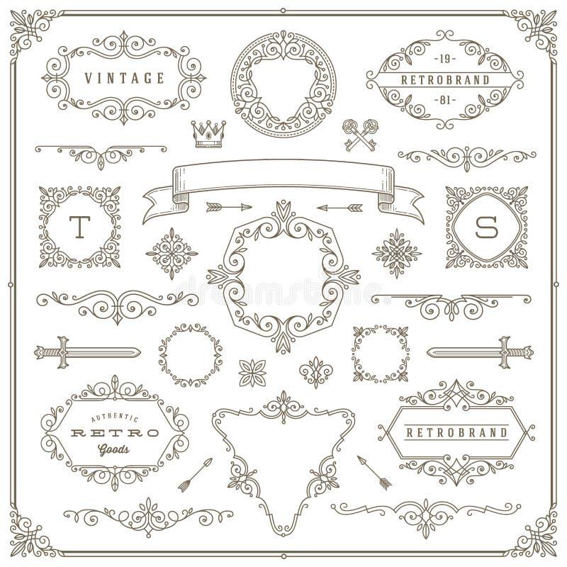 Conjunto de elementos del diseño de la vendimia stock de ilustración