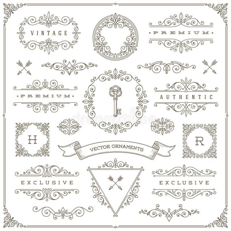 Conjunto de elementos del diseño de la vendimia ilustración del vector
