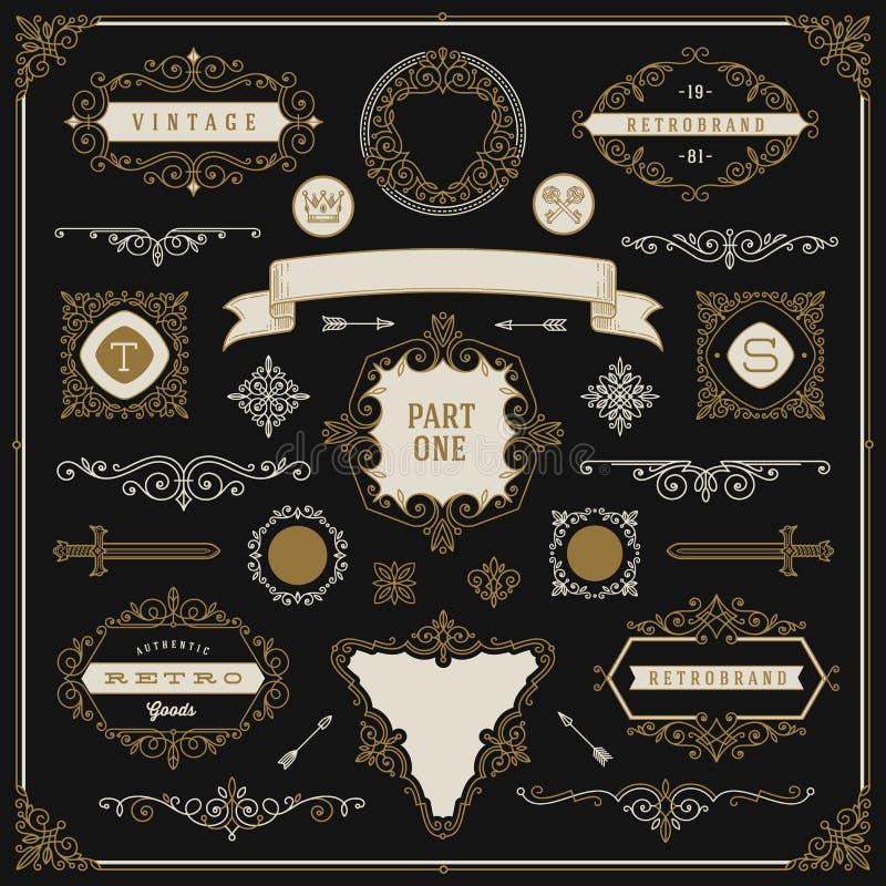 Conjunto de elementos del diseño de la vendimia libre illustration